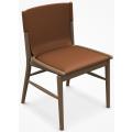 JENS SJ51B - sedia L cm51, seduta e schienale cuoio