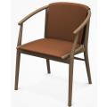 JENS SJ61B - sedia L cm61 con braccioli, seduta e schienale cuoio