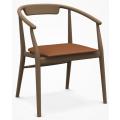 JENS SJ61 - sedia L cm61 con braccioli, seduta in cuoio