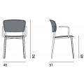 PLY - sedia rivestita con braccioli