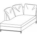 LUCAS CH204 chaise longue versione sinistra - L 1000 P 2040 H 860