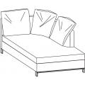 LUCAS CH204 chaise longue versione destra - L 1000 P 2040 H 860